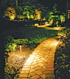 Quality path lights create the perfect, serene scene.