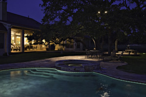 Dimming your LED outdoor lighting can create a romantic mood.