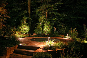 Path lights along the edges of this jacuzzi deck illuminate the area and highlight the foliage beyond.