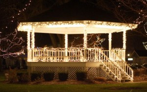 Adding holiday lights to your gazebo shows your holiday spirit.