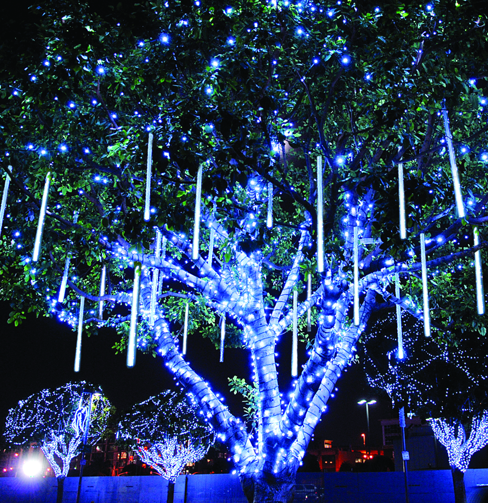 Amazing 2013 outdoor christmas lighting embraces options outdoor blue holiday lights create a winter wonderland in your on your lawn shown here with aloadofball Gallery