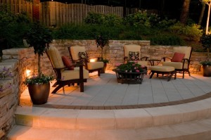 Lighting a fire pit area is similar to lighting a patio.