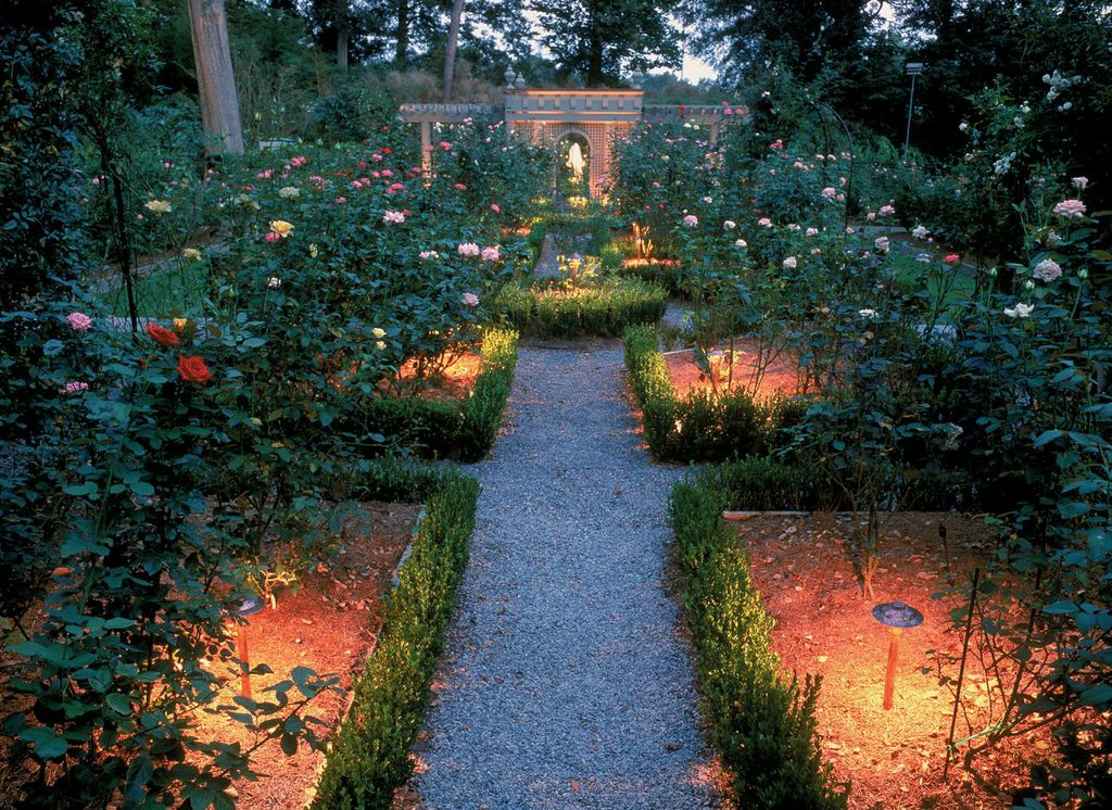 Our custom garden lighting evokes romance.