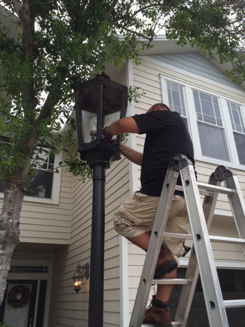 Our team working on gas lantern retrofit to LED in Hyde Park, Tampa, FL.