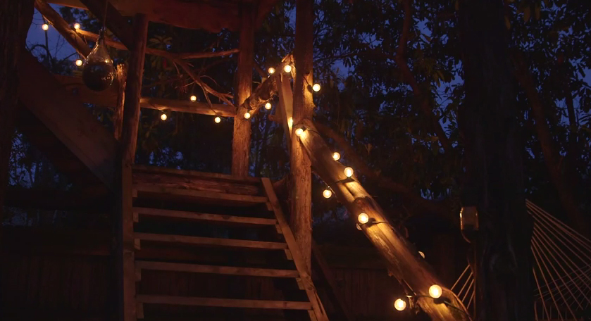 Even a child's backyard treehouse is made more magical with the addition of light!