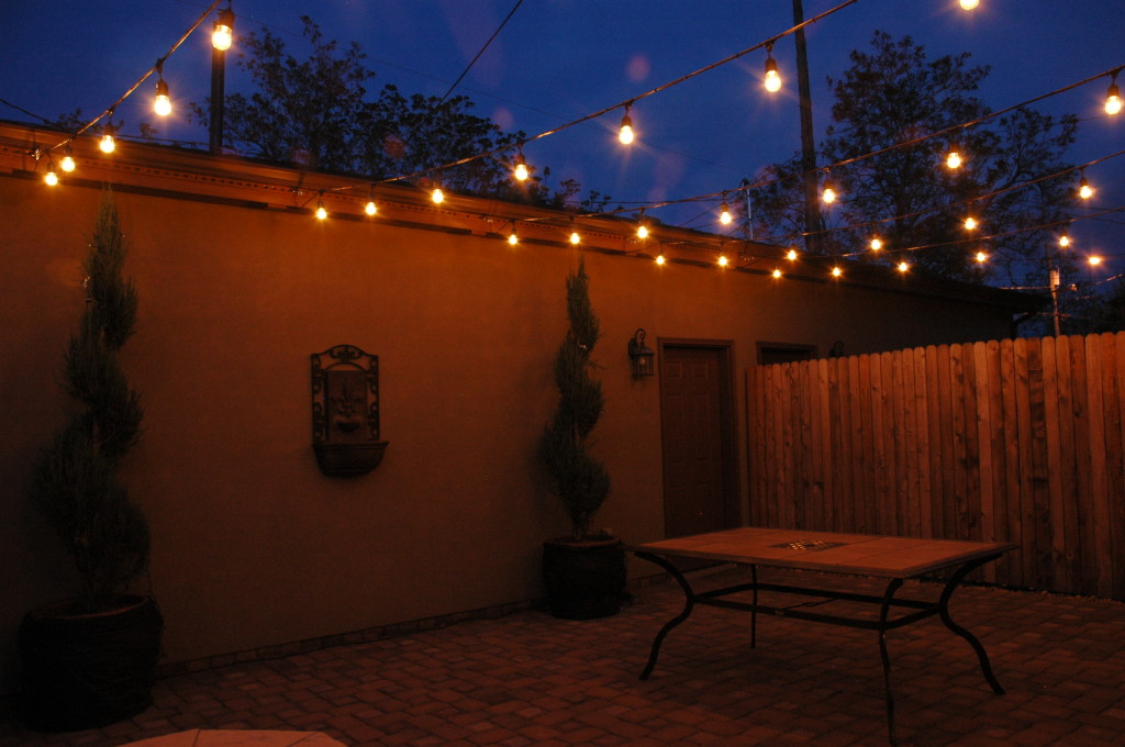 This courtyard comes to life with festival lighting!
