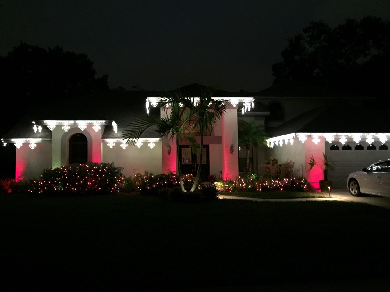 Clearwater and tampa bay outdoor lighting enlivened for the holidays clearwater holiday lighting using the addition of colored lens covers aloadofball Gallery