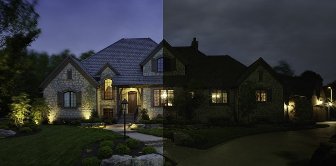 before and after Clearwater outdoor lighting
